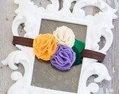 Cream Felt Fuff, Violet Felt Fuff and Mustard Felt Fuff on Brown Elastic Headband or a Clip