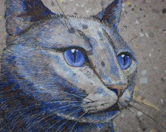 "Cat art painting drawing original artwork 5"" x 7"""