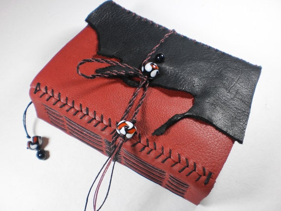 Leather Journal Blank Book red and black