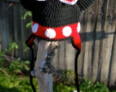 Hand crocheted Mini Mouse hat, red