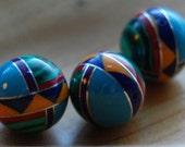 Zuni SouthWest 8mm Composite Stone Round Beads Qty 6 Beads