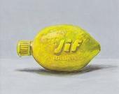 Jif lemon. ORIGINAL egg tempera painting, unframed.
