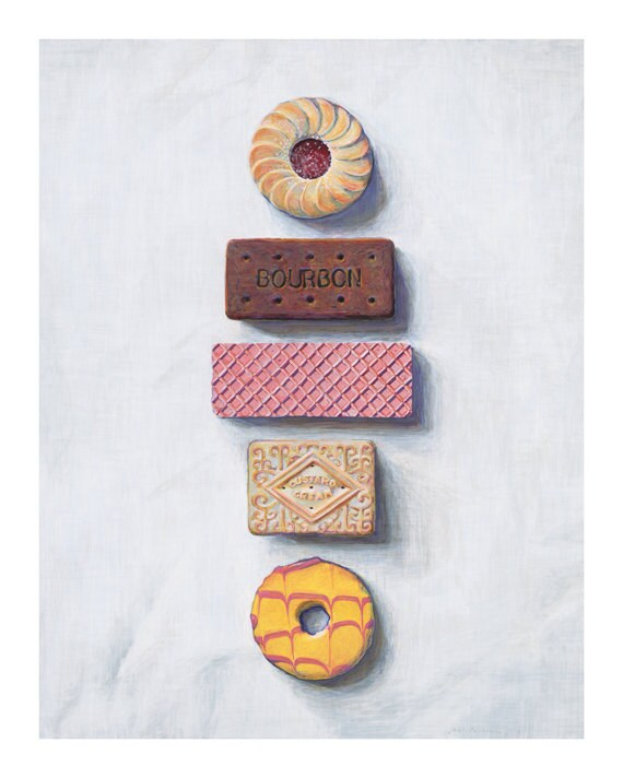 """Biscuits in a line. Limited edition giclée print, 40 x 50cm (15.7"""" x 19.7"""")."""