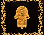 custom made for CANDY HAMSA - hamsa hand evil eye-Israel Art- spiritual wall decor- kabbalah- hamsa hand-Judaica- Black & Gold-canvas.