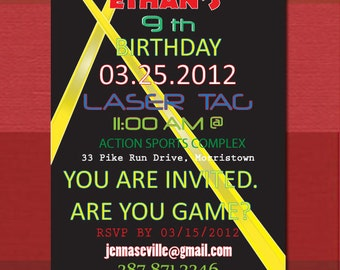 Printable or Email DIY Custom Laser Tag Party Invite PDF file