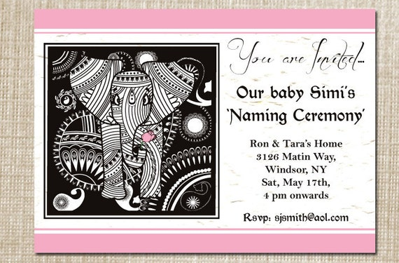 il_570xN.333871692 items similar to printable diy elegant elephant baby naming,Baby Naming Ceremony Invitation Message