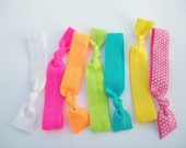 7 Hair Ties - Neon Crazy  by Lucky Girl