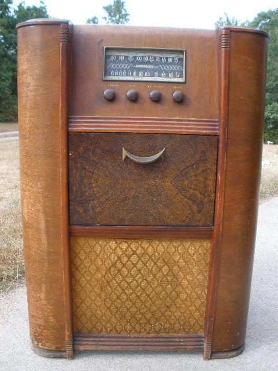 Items Similar To Antique Wooden Floor Radio Quot Crosley Quot It
