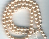 Vintage Champagne, Cream Colored 6mm Glass Pearls, Czech, Free US Ship, Item02947