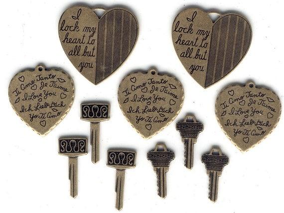 Vintage Style Heart Pendants, Five Languages of Love, Key Pendants, Item05942
