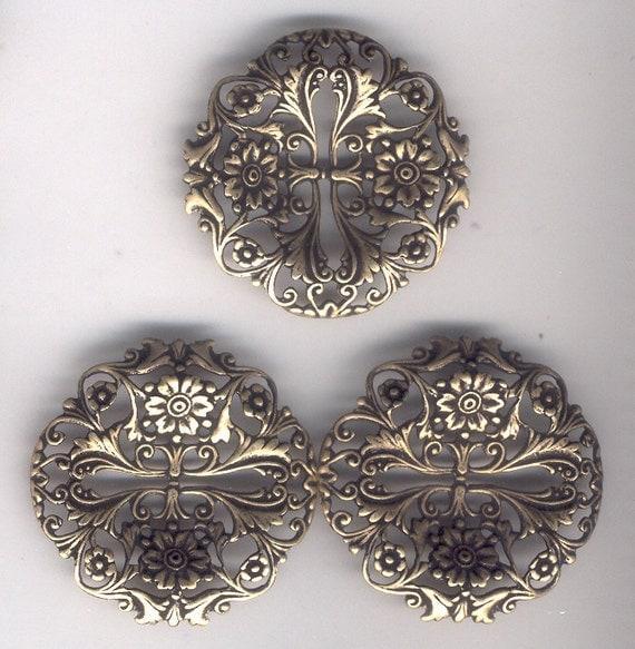 Floral Slotted Filigree Stamping, Brass Ox, Dark Brass, Item06236