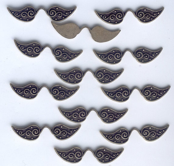 Funky Mustachio Wings, Steampunk Findings, B'sue Boutiques, 12 Pc, Item08779