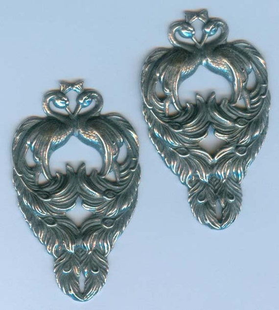 Kissing Peacocks Stampings, Silverware Plated, Item08891