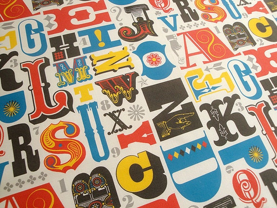Original Fabric, Woodtype Alphabet, Fat Quarter, Primary Colors