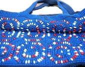 VINTAGE 1970'S Blue Red and White Beaded Purse