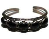 Vintage Native American Sterling Silver and Onyx  Cuff Bracelet