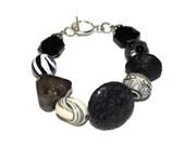 Chunky Black and White Mixed Media OOAK Beaded Bracelet- Etsy Treasury
