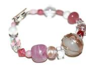 Pink White and Clear Asymmetrical Mixed Media OOAK Beaded Bracelet- Etsy treasury