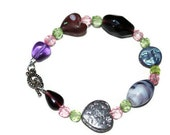 RESERVED Purple Pink Green and Silver Mixed media ooak Bracelet wilth hearts and moons- Etsy Treasury