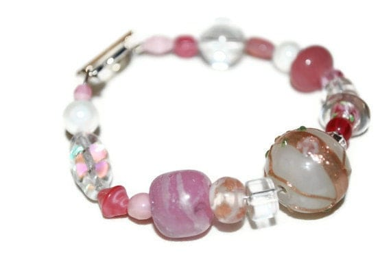 Pink White and Clear Asymmetrical Mixed Media OOAK Beaded Bracelet- Etsy treasury