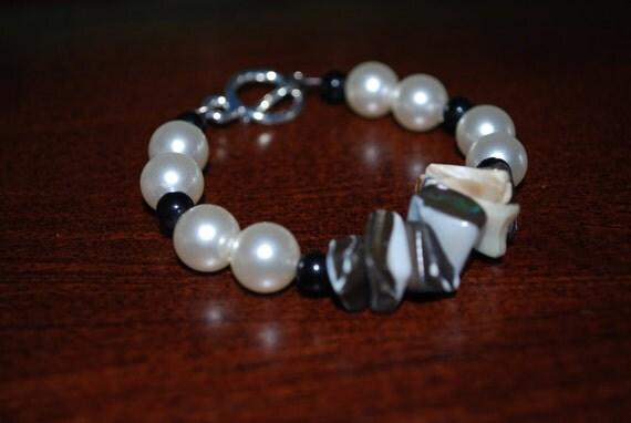 Black and White Upcycled Shell Beaded Ooak Bracelet