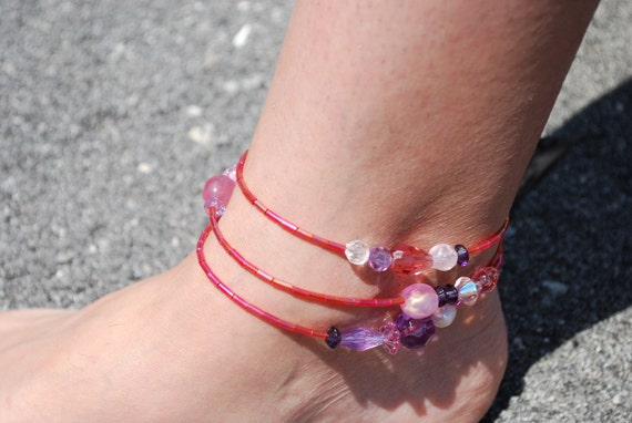 For Jayne Beaded Anklet Bracelet or Necklace in pinks and purple beads ooak