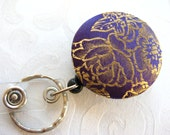 Purple and Gold Fabric Covered Retractable Pullout Keychain, Nametag, Badge Holder