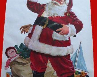 Large Huge 1950-1960 Santa Claus Store Display Poster- B. Bradley, Christmas in July, Vintage Art