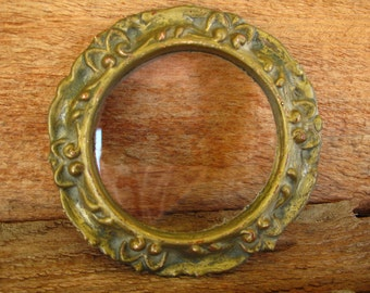 Antique Carved Wood Small Floral Circle Round Frame