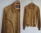 1970 men's tan jacket SUEDE collared cable knit vintage