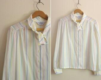 RAINBOW striped ascot blouse secretary pastel top 1980s