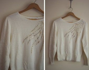 glitter FLAME 80s gorgeous cream shiny sweater 1980s