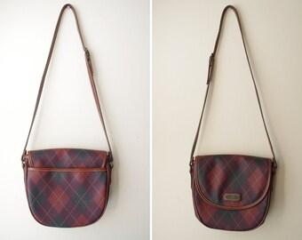 so cute plaid ARGYLE preppy schoolgirl satchel purse bag 1980s