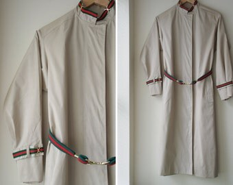 1970s max adler long coat KHAKI classic princess logo trench belted