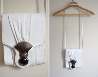 white LEATHER cabochon unique metal bag purse 1980s