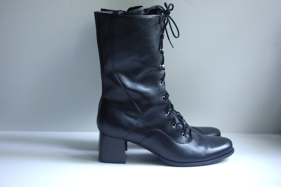black COMBAT leather boots lace-up granny chunk heel mid-calf 9 39 1990s