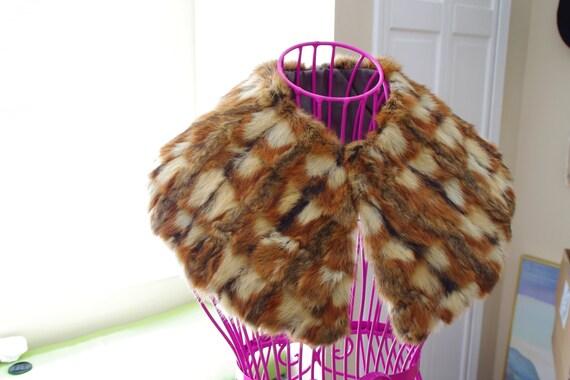 MULTI-COLORED fur detachable large collar unique pattern coat