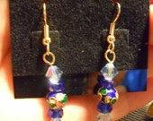 Clearance/Blue Cloisonne Dangle Earrings / Cloisonne /  blue Czech crystal beads / Gold