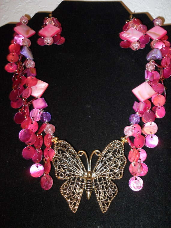Clearance/Hot Pink Butterfly Necklace / gold butterfly