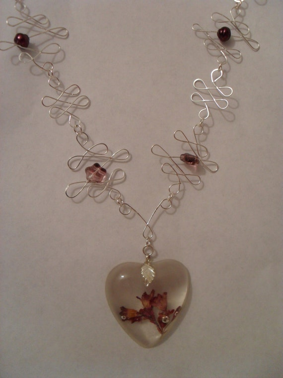 FREE SHIPPING Purple Wildflower Hearts Necklace and Earrings Set