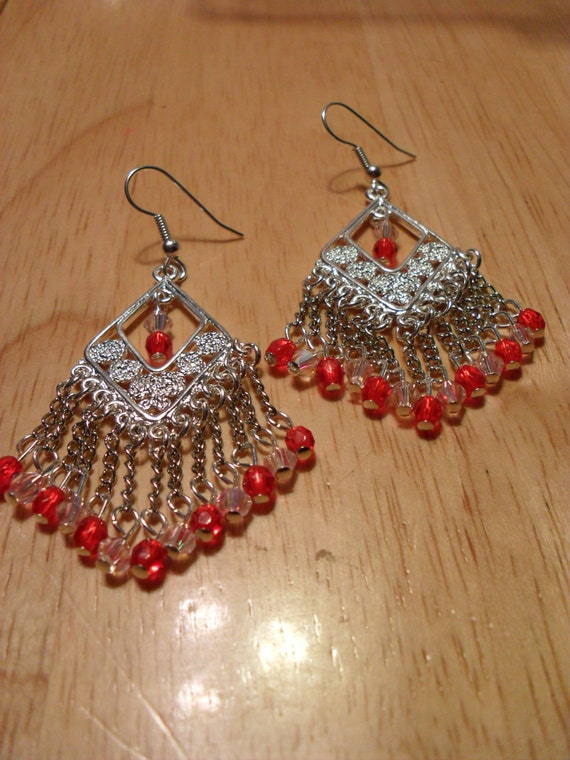 Clearance/Silver chandelier Earrings with Red and Pink Crystals