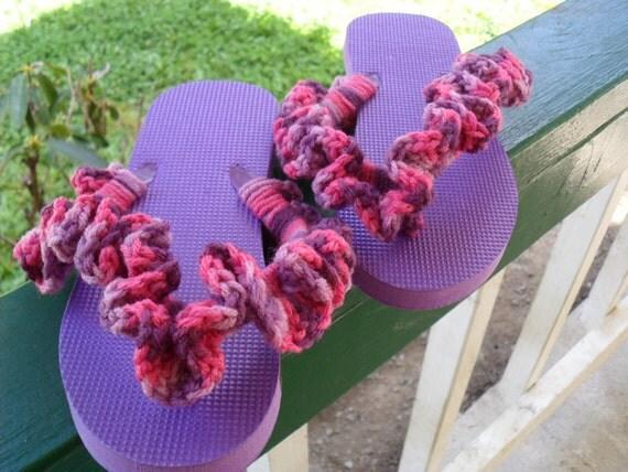 Flip Flops / Purple / Crochet ruffle / L