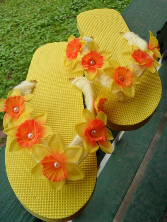 RESERVED Listing for KelleyFlip Flops / Yellow / Sandals/ Yellow and Orange flower with pearl center / Lady's Size XL