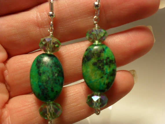 "Green Dangle Earrings / ""African Turquoise"" / Dyed Jasper / Czech crystal / Silver"