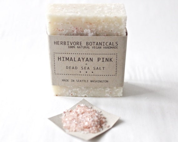 ONLY ONE LEFT - 100 % Natural - Himalayan Pink Sea Salt - Handmade Vegan Cold Process Soap