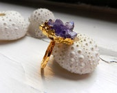 Gold Dipped Natural Deep Amethyst Drusy / Druzy Quartz Ring, 24K Gold Vermeil hammered band (Adjustable Ring)