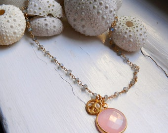 Beautiful Pink Chalcedony and 24K gold Vermeil PEACE Charm Necklace