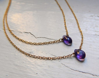 Beautiful High Quality Amethyst Marquis Layered Gold filled necklace
