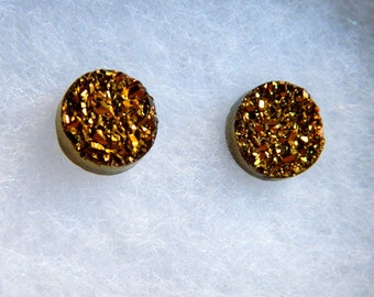 GOLD Titanium Drusy / Druzy Quartz Studs on 14K Gold Filled posts Earrings