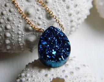 Royal Blue Titanium Tear drop Drusy / Druzy Qaurtz And 14K Gold Filled Necklace